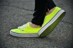 shoes, vans, sneakers, neon, yellow, soles, colour, color, colours, colors, street, fashion, girl, girly - Wheretoget