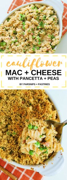 This Cauliflower Sauce Mac and Cheese is a lightened-up version of macaroni and cheese, with more nutrients and all of the cheesy, gooey flavor you love. Crispy, salty pancetta and peas finish this comforting baked dish.