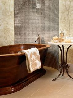 Wooden tub love. I wonder if it keeps the water warm longer?