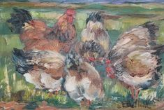 """BAILLEUL Etienne (né en 1943). """"Poule et coq"""". Huile sur toile signée en bas à droite. 33 x 41 (M)"""
