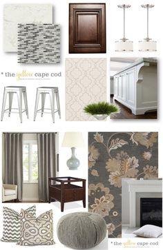 This is my perfect living room makeover colors. I am especially drawn to  the area rug  drapes.  The Yellow Cape Cod: Gray/Tan Transitional Style Multiroom Design-Part I