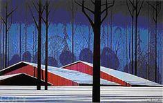 "Eyvind Earl ""Winter Barns"" Serigraph on Paper | eBay"