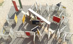 Playground in India with moveable panels for hide-and-seek. Designed by Romi Khosla Design Studio.