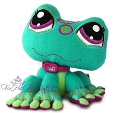 Littlest Pet Shop✵STUFFED ANIMAL LOVIE✵Green Frog✵2008✵Sitting Toad RARE HTF F67