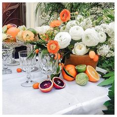 Emblem Flowers - A sunny, southern California affair calls for citrus-appointed tables. Event Design: Twofold LA Florist: Emblem Flowers Venue: Private Residence in Bel Air, California