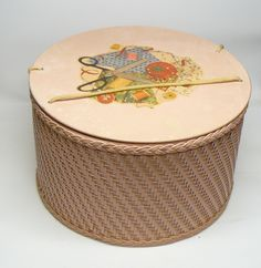 vintage pink wicker sewing basket by antiquesurveyor on Etsy