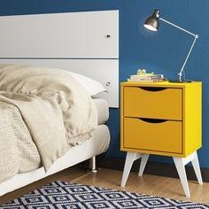 Criado-Mudo com 2 Gavetas 3207 Tutti Colors Madesa Amarelo e Branco