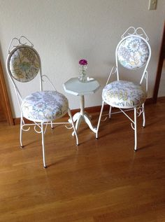 Vintage Wrought Iron Chairs Upholstery Chairs by GreatLiving1980