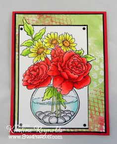 images stampendous bowl bouquet | ... palette and stamps from the Wired Cling Rubber Set by Stampendous