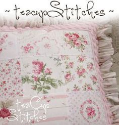 Pink Roses Patchwork Pillow with Pink Chenille Border