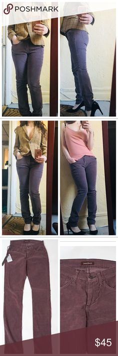"""James Jeans Corduroy Mink Purple Jeans JAMES JEANS originally  $167 Skinny Randi Corduroy Mink Purple Pencil Women's W29. In perfect condition. I am a size 26 now so they fit little baggy on me as shown on photos. If your a size 29 they will fit like a glove. Super sexy!  Size 29 Inseam length: 30"""" James Jeans Jeans Skinny"""