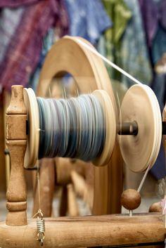 spinning wool into yarn