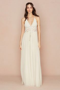 Calypso St. Barth Sasina Cotton Crochet Dress beach inspired maxi with a halter neckline