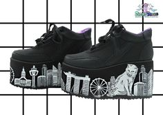 b0483a6a1fc Hand painted YRU skyscraper catzilla at singapore platform flatform shoes  trainers made to order
