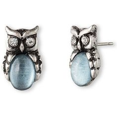 Lonna & Lilly Silvertone and Sky  Stone Owl Stud Earrings ($18) ❤ liked on Polyvore featuring jewelry, earrings, accessories, owls, blue, blue stone pendant, blue charm, stone stud earrings, blue stone jewellery and owl jewelry