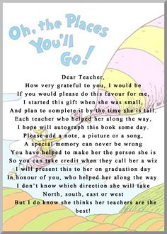 """girl version of the the instructions to go in the front of the book for a teacher to leave a note in """"oh the places you will go"""""""