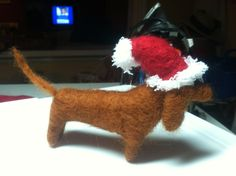 Needle felted dachshund, wool felt dachshund figurine, custom wiener dog with Santa hat. by ArtsyAnnCreations on Etsy