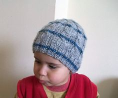 Knitted baby hat cable knit baby beanie in grey by KnitterPrincess, $18.00