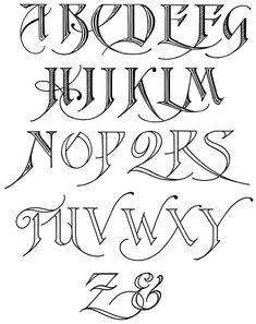 These graceful Free Calligraphy Alphabet images contain two to four characters, with the last one showing the complete alphabet with an ampersand. Tattoo Fonts Alphabet, Tattoo Lettering Fonts, Hand Lettering Alphabet, Graffiti Alphabet, Calligraphy Letters, Typography Letters, Lettering Design, Caligraphy, Penmanship