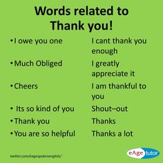 "Words related to ""Thank you!"""