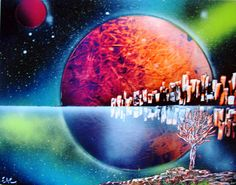 Spray Paint Art Original Space City Landscape Reflection by EacArt