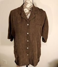 Chico Top Blouse Brown Womens Size 2 3/4 Sleeve Brocade Look Silk Linen #Chicos #Blouse #Career