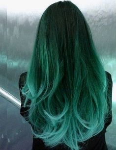 Off Black to Teal Green to Teal Blue Mermaid Colorful Ombre Indian Remy Clip In Hair Extensions C037 [C037] - VPfashion.com