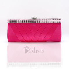 [USD $17.57] Elegant Women's Silk Knitted Rhinestone Evening Bag - Rose on Zdress.com