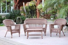 Save $ 10 order now 4pc Honey Wicker Conversation Set at Discount Patio Furnitur
