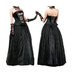 Conjunto falda terciopelo y corset. estilo Ropa Gotica
