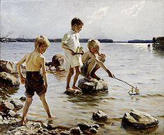 Leikkiviä poikia rannalla. Edelfelt. sivuilla tehtäviä, kuvia ja tietoja Suomen kultakauden taiteilijoista
