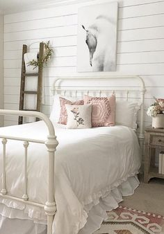 This girl's bedroom is simply elegant with its clean white bed, shiplap walls, rustic nightstand and pops of pink. Not to mention the… Rustic Girls Bedroom, Bedroom Decor For Couples, Couple Bedroom, Girl Bedroom Designs, Small Room Bedroom, Home Decor Bedroom, Bedroom Ideas, Bedroom Interiors, Small Rooms