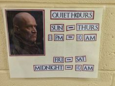 Game of Thrones RA Poster quiet hours
