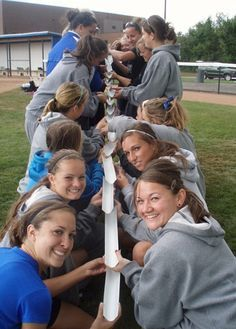 Outdoor Ed - Team building - Pipeline. can be done with kids with pool noodles cut in and use a marble? at Buffalo Womens Softball - Team Building Buffalo, NYPipeline Activity - Turn into log flume?Team/Classbuilding - Pipeline tie in with Kinetic & Poten Team Activities, Activity Games, Fun Games, Activities For Kids, Classroom Team Building Activities, Building Games For Kids, Leadership Activities, Water Activities, Camping Games