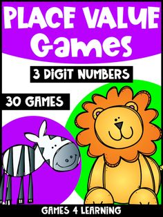 Place Value Games 3 Digit Numbers: Hundreds, Tens, Ones: Skip Counting: Base 10 Place Value Games, Game Place, Place Value Activities, Math Board Games, Math Games, Number Words, Number Number, 2nd Grade Math, Second Grade