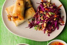 Crispy Spring Rolls with Asian Slaw - I actually just pinned this for the easy slaw recipe! But a baked Spring Roll has to be healthier than deep fried!