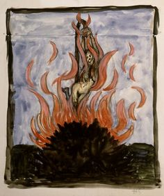"""The Witch at the Stake by Hugo Simberg is featured at the Traditional Witchcraft and Occultism bogpost, """"The Illegal Establishment of Religion is a Fast-Growing Trend in the U. as Religious Zealots Abuse State and Federal Legislatures and Courts. Witch History, Art History, Watercolor Illustration, Watercolor Art, Real Witches, Traditional Witchcraft, Witch Art, Werewolf, Occult"""
