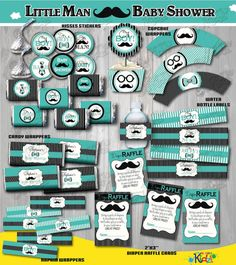 Printable Teal and Black Little Man Baby Shower Package, little man Mustache Baby Shower Printable, mustache Party Printable, Little Man Baby Shower Decorations. ========================================= IMPORTANT NOTES - Please READ before purchase