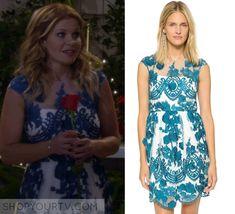 Fuller House: Season 1 Episode 13 DJ's Blue Floral Overlay Mesh Dress