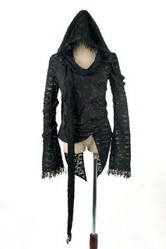 Punk Rave Fashion Gothic Mandarin Sleeve Hooded Top
