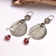Long earrings raw ruby sterling silver earring dangle oxidized   visit my shop for more https://www.etsy.com/shop/nikiforosnelly