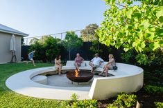 Pool, Sunken Fire Pit with succulent planting and entertaining areas designed by tristanpeirce Landscape Architecture Perth Western Australia backyard design diy ideas Landscaping Backyard On A Budget, Backyard Retreat, Fire Pit Backyard, Fire Pit Near Pool, Garden Fire Pit, Sunken Patio, Sunken Fire Pits, Concrete Fire Pits, Patio Makeover