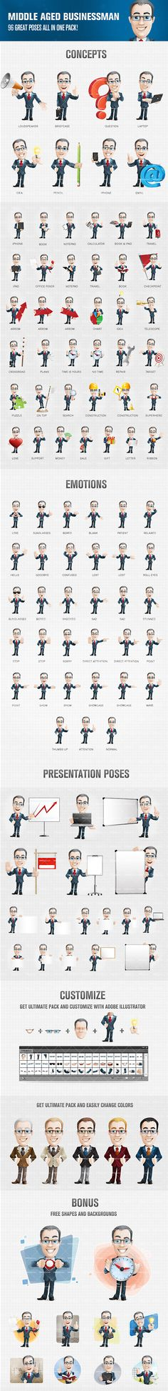 Cartoon character featuring neat and smart look. Our cartoon character set comes in 96 great poses and moods. Get our highly detailed set and use it for your business projects. Continue reading →