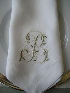 White Linen Napkins, Green Embroidery