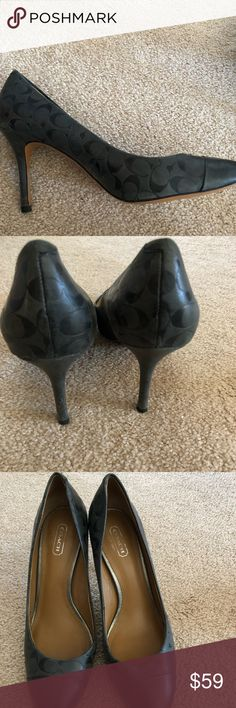 "Coach Signature Heels EUC. Beautiful dark gray leather with C signature pattern. 3.5"" heel. Coach Shoes Heels"