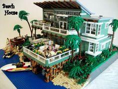 Beach House :: My LEGO creations. Living vicariously through Lego Lego City, Lego Beach, Casa Lego, Lego Machines, Lego Sculptures, Amazing Lego Creations, Lego Modular, Lego Worlds, Lego Design