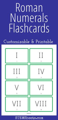 Roman Numeral Flashcards - Customizable and Printable