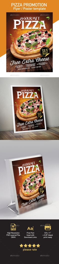 Pizza Template for Poster / Flyer #restaurant flyer #poster • Download here → https://graphicriver.net/item/pizza-beautiful-template-for-poster-flyer/20360196?ref=pxcr