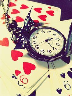 alice, cards, clock, wonderland - inspiring picture on Favim.com