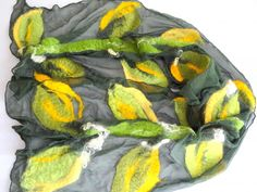 Big ,Artisan ,Silk Shawl ,Green, pure silk handmade shawl ,stylish,design,art to wear,made by Felting Paradise Art at Europe
